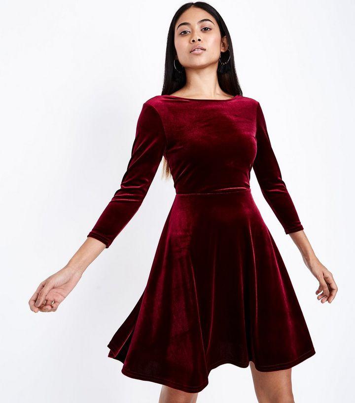 robe en velours rouge new look camille talks. Black Bedroom Furniture Sets. Home Design Ideas